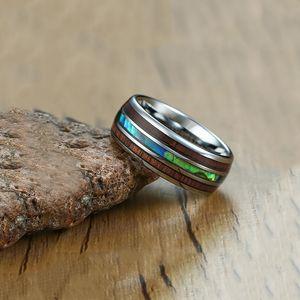 Somen 8mm Lüks Erkekler Gümüş Tungsten Karbür Yüzük Ahşap Abalone Shell İç Erkek Düğün Nişan Bantları Anillos Hombre Için J190716