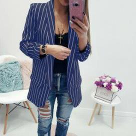 Mulheres Designer listrado Suits Singler Breasted Blazers OL Feminino Coats Designer Tops Vestuário Womens