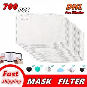 700 PCS Filtrar PM2.5 para máscara máscaras anti Haze boca máscara de filtro-slice 5 capas de no tejido de la cara del filtro del carbón activado reemplazable Gasket 005