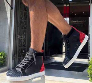 Neue Mann-Frauen-rote untere Schuh-Schwarz-Veloursleder mit Sliver Toe Spikes Zurück Hallo-Spitze Turnschuhe, Spitzen-Entwerfer-Marken-Zehe beiläufigen Schuh 35-47