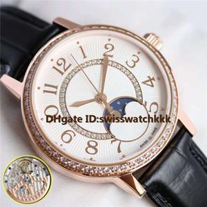 Новые женские часы Swiss 925A / 1 с автоматическим резервом хода 40 часов Sapphire Moonphase Отображение даты Бриллиантовая оправа Розовое золото Женские часы