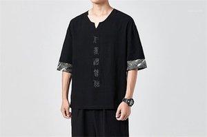 Короткие рукава Тис Мужские Щитовые Письмо вышивки Tshirts Mens Обычная длина Китайский Стиль Tops Homme V Neck