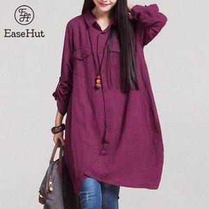 Shirt Outono EaseHut Primavera-Verão blusas para mulheres Casual Algodão Linho Roll Up manga comprida Blusa Irregular Hem solto Vintage