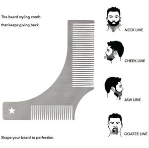Stainless Steel Man Beard Shaping Template Comb Moustache Trimmer Stencils for Men Beard Line Edging Comb Styling Accessorie