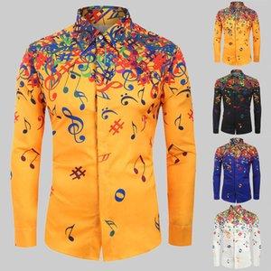 음표 패턴 셔츠 남자 패션 라펠 넥 긴 소매 하와이 셔츠 남성 캐주얼 의류 남성