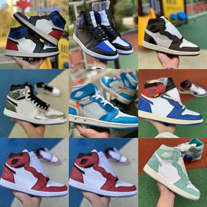 Vender 2019 Zapatos de baloncesto X Travis Scotts Nueva alta OG 1 MID Turbo Verde Historia de Origen Gs Prohibido NRG X Unión Retroes 1s Unc Blanco Azul Zapatos