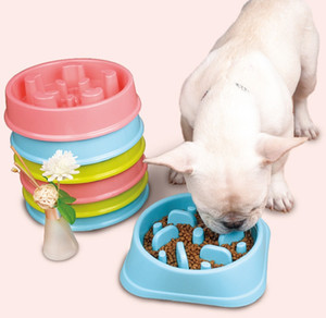 Plastica Pet Feeder Anti Choke Dog Bowl Puppy Cat Slow Down Eatting Feeder Piatto di dieta sana Jungle Design Rosa Blu Verde