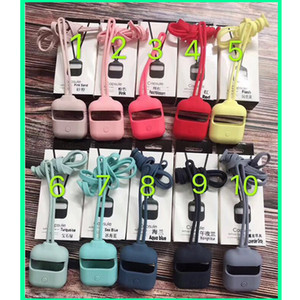 Для корпуса airpods новый силиконовый чехол для наушников 2 поколения 1 и 2, 15 цветов, с длинным и коротким подъемным тросом того же цвета
