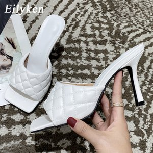 Square Eilyken 2020 New Design Toe Thin High Heel Slippers Women Sandals Fashion Slip On Slides Summer Beach Shoes Mules
