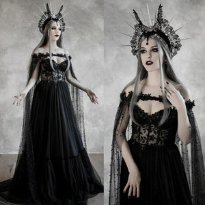 2020 Black Wedding Dresses with Beaded Wrap Lace Appliqued A Line Vintage Gothic Strapless Bridal Dress Bohemia Sexy Bride Gowns