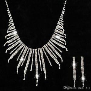 Minlover Crystal Teardrop Wedding Jewelry Sets Rhinetone Choker Necklace and Earrings Bridal Jewelry Sets for Women