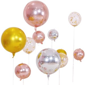 5pcs lot 10 18 22 Inch 4D Round Aluminum Foil Balloons Metal Balloon Wedding Decoration Birthday Party Helium Ballon Supplies
