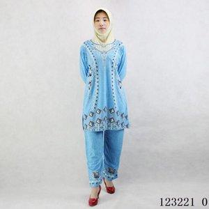 Pakistan giyim 2 parça bir takım geleneksel india baskı Buz ipek Şalvar giyim ücretsiz kargo 123.220 womens