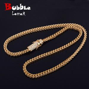 """30"""" Männer Hip Hop Halskette Iced Strass Verschluss 6mm Edelstahl Franco Cuban Box Kette Link Halskette Schmuck"""