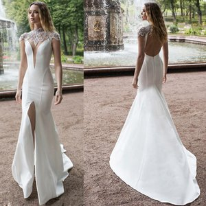 Mermaid Wedding Dresses 2020 New High Neck Front Split Lace Beads Satin Bridal Gowns Sweep Train Wedding Dress Plus size