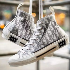 DIòr Homme X KÀWS By Kim Jones Men Women Fashion Design Casual Shoes High Top Printing Oblique Sneakers Skateboard Shoes Size EUR 36-45