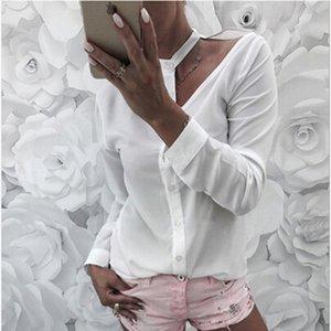 여름 여성 섹시한 블라우스 긴 소매 불규칙한 중공 칼라 시폰 블라우스 셔츠 여성 blusas 캐주얼 홀터 탑
