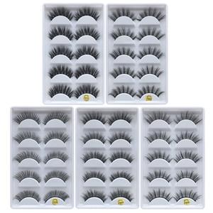 Falsche Wimpern des Nerz-3D lange starke kreuzweise natürliche Nerz-Wimpern-handgemachte falsche Wimpern-Augen-Make-upwerkzeuge 5pairs / set RRA1043