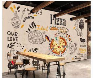 Papel de parede пользовательские 3d фото фрески обои Европейский и американский стиль ретро пицца столовая фон наклейки обои для стен