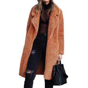 Le donne inverno lungo cappotto di lana risvolto Outerwear Jacket addensare Moda Shaggy Trench Coat asiatico formato S-3XL