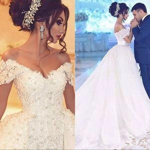Vestidos de boda del hombro Dubai novia sirena apagado con falda desmontable para mujer vestido de Eventos Vestidos para bodas de perlas nupcial del cordón