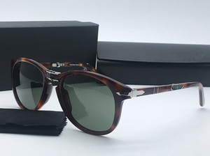 رائع فارسية 714 للجنسين للطي طيار نظارات شمس UV400 54-21-140 المستوردة نقية لوح + HD العدسات الزجاجية الخضراء التعبئة fullset