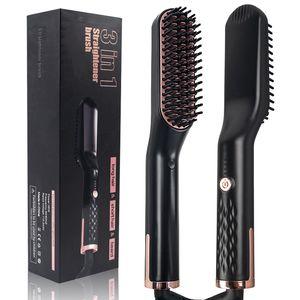 Hombres Barba enderezadora del pelo del peine de la enderezadora del cepillo peine caliente Planchas alisadores Barba plancha de pelo que endereza el cepillo
