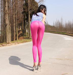 2019 Women Lady Seamless Stretchy Pants Leggings Summer Transparent Slim Ultra-thin Stylish Rose Red New