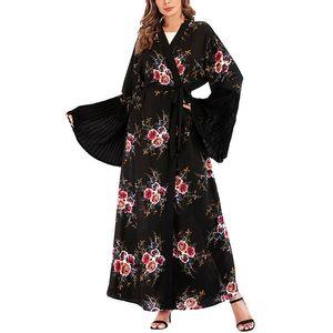 Hot vente Printemps été 2XL Plus Size Floral imprimé devant ouvert Kaftan robe longueur cheville manches cloche Mesdames Abaya Robe