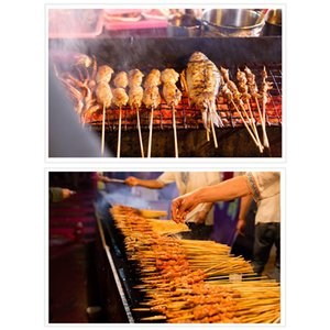 Barbecue Grill Mats Bamboo Skewers Grill Shish Wood Sticks Barbecue BBQ Tools Churrasco Disposable BBQ Supplies 90PCs