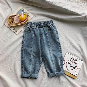 Wholesale Baby Korean Jeans Girls Boys Loose Casual Denim Pants Long Trousers Children Clothes 1-7Y E20021