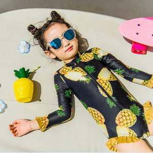 Muchacha de los cabritos del traje de baño del mono + Hat piña impresión niños del traje de baño de manga larga de la niña Natación traje de baño 24M-10 Años