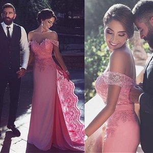 Off Shoulder Pink Prom Dresses Long 2019 Train Lace Appliques Zipper Back Charming Straight Fomal Party Gowns Vestidos De Festa