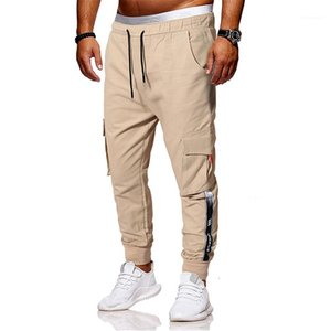 Pockets Mens Casual Solid Color Male Clothing Designer Cargo Printed Mens Pants Fashion Panelled Trousers With