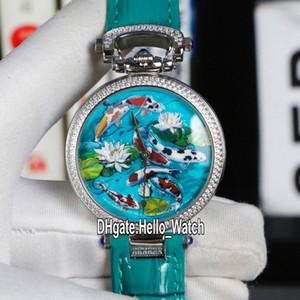 New Bovet 1822 Amadeo Fleurie 3D Koi Fisch Lotus Dial Schweizer Quarz der Frauen Männer Unisex-Uhr-Stahl-Diamant Lünette Grün Leder Hello_Watch