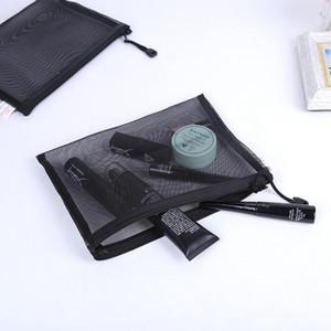 Transparent Grid Cosmetic Bag Women Men Travel Makeup Bag Zipper Make Up Organizer Storage Pouch Toiletry Beauty Wash Case