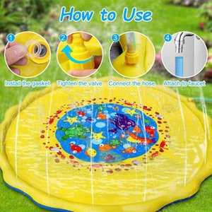 170cm Kids Sprinkler Pad Mat Children Summer Outdoor Water Splash Play Mat Lawn Inflatable Sprinkler Cushion Toy Swimming Pool