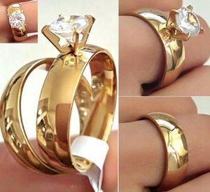 24 pcs (12 pares) casais de ouro anel amantes anel de noivado de aço inoxidável cz banda anel qualidade confortável clássico jóias