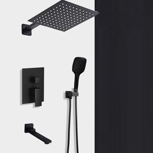Concealed noire douche Robinets Set en acier inoxydable de douche pluie tête mitigeur mitigeur bain Douche