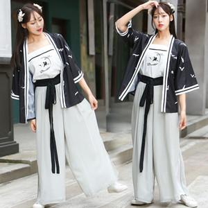 Migliorata stile cinese intrattenimento musiche e canzoni rivestimento delle donne + sling + pantaloni 3 pezzi China Tang canzone Ming elementi antichi Abbigliamento signora della ragazza Costume da fata