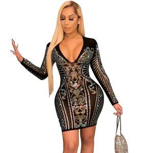 Sexy Dresses Best Selling Spring Summer New Fashion Nighclub Party Dance Show V-neck Long Sleeve Bodycon Slim Dress