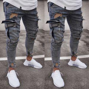 Moda Jeans Erkek Skinny Jeans Tahrip Yıpranmış Slim Fit Denim Cep Kalem Pantolon Boyut S-2XL Ripped Yıkanmış