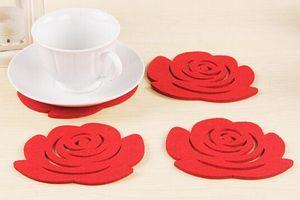 Atacado Moda Simples 5Pcs Rose Placemats isolados potholders Crochet Doilies feltro Coasters Cup Napperons Mat Pads
