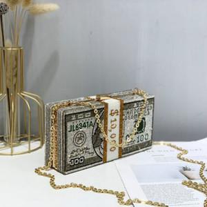 2020 Stapel von Bargeld Crystals Frauen Geld Abendclutch Taschen Diamant-Hochzeit Abendessen Geldbeutel Handtaschen Luxus Frauen Designer-Taschen