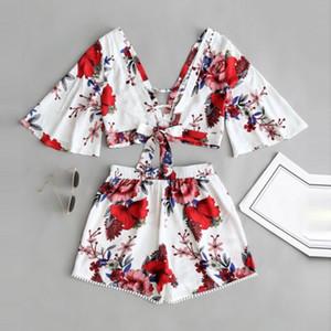 Les femmes deux pièces Tenues Femmes Designer Survêtement deux pièces Casual Set Femmes Botanique Imprimer Collier d'été V Top Shorts Beachwear 1
