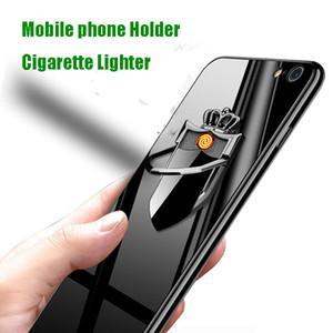 Creativa Soporte teléfono móvil de carga USB encendedor a prueba de viento metal de la personalidad Pull Down encendedor de cigarrillos de encargo personalizada
