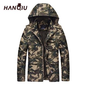 HANQIU Autunno Camouflage Jacket Uomo Hooded Slim Fit Cotton Uomo Camo Army Coat Fashion Homme Jacket Jaqueta Masculino