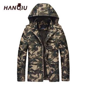 Hanqiu herbst camouflage jacke männer mit kapuze slim fit baumwolle männer camo armee mantel mode homme jacke jaqueta masculino