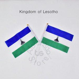 Флаг Лесото баннер 10 шт./лот 14x21 см флаг 100% полиэстер флаги с пластиковыми флагштоками для празднования украшения Королевство Лесото