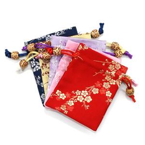 Последние Счастливого Малого Рождественского мешок ткань цветение слива Silk Brocade ювелирных изделия мешок Drawstring Малой свадьба подарки сумка 3шт / серия